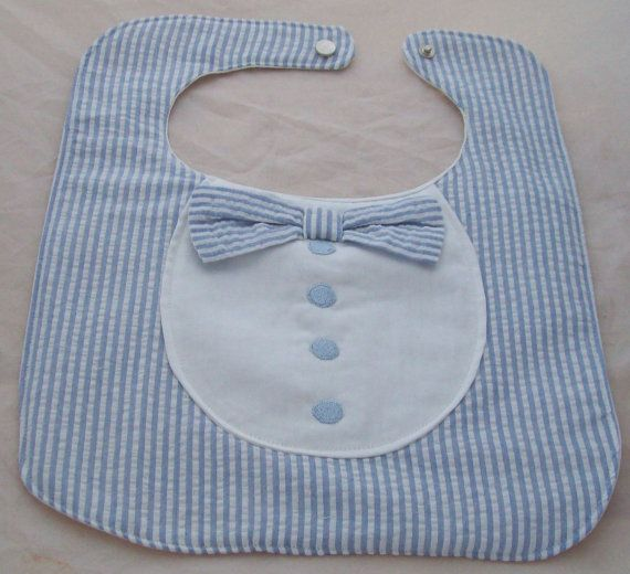 BOW TIE BABY BIB, (NEW) HANDMADE This baby bib is made of cotton stripe fabric with a cute bow tie and embroidered buttons finished off with