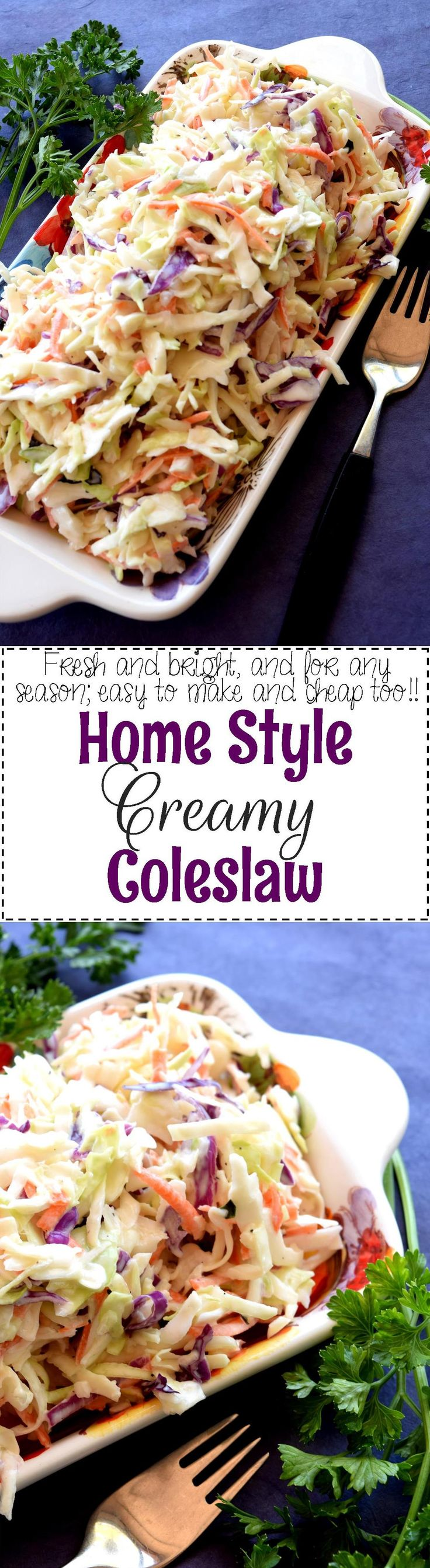 Homestyle Creamy Coleslaw - A great tasting Homestyle Creamy Coleslaw consists of simple ingredients, no fuss, and lots of crispy, crunchy vegetables.  This coleslaw is the ultimate in summer family comfort food!