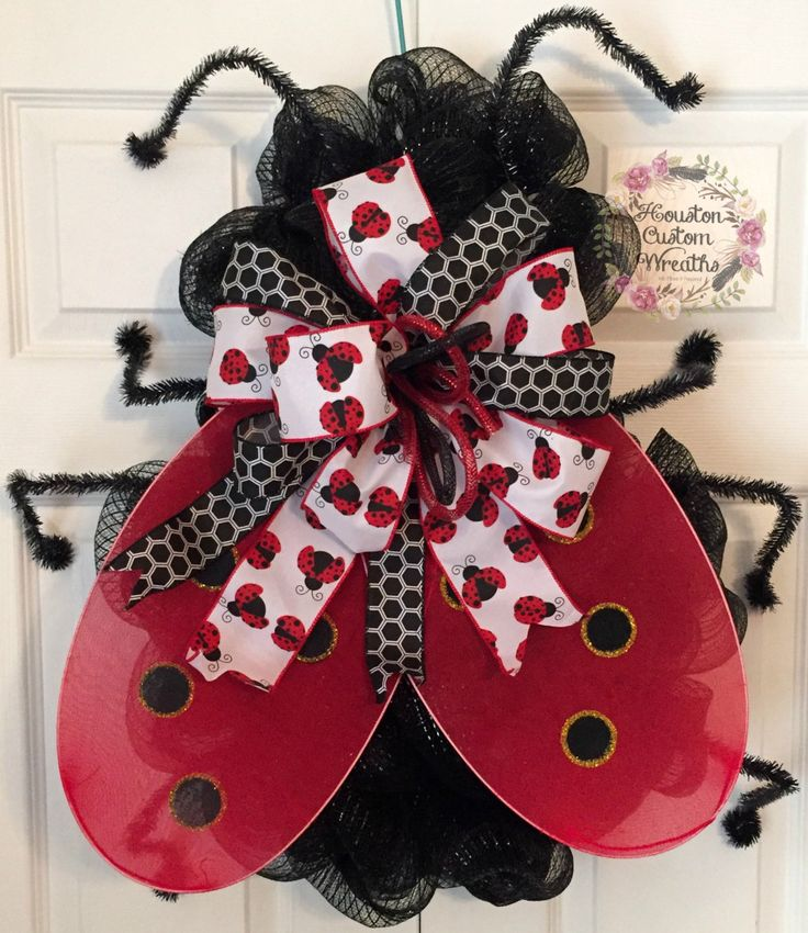 Ladybug Wreath, Deco Mesh Wreath, Front Door Decor, Door Hanger, Ladybug Decoration, Spring Decor, Cute Bug Wreath, Ready for Shipping by HoustonCustomWreaths on Etsy