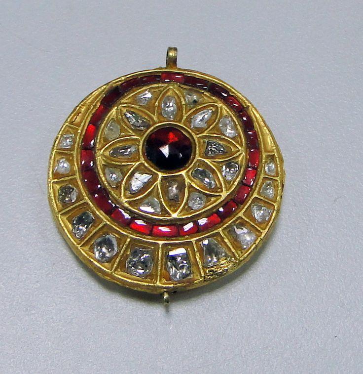 Vintage antique 20 ct gold polki diamond Pendant kundan meena work