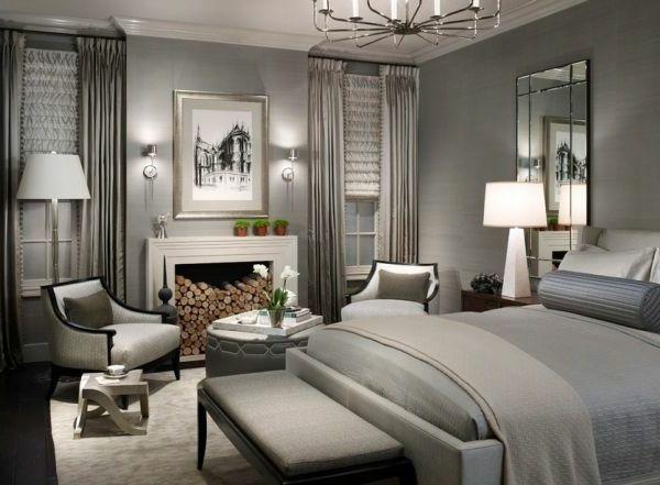 graue-Designs-schlafzimmer-kamin - lampe in weiß- wandfarbe grau - schlafzimmer weiß grau