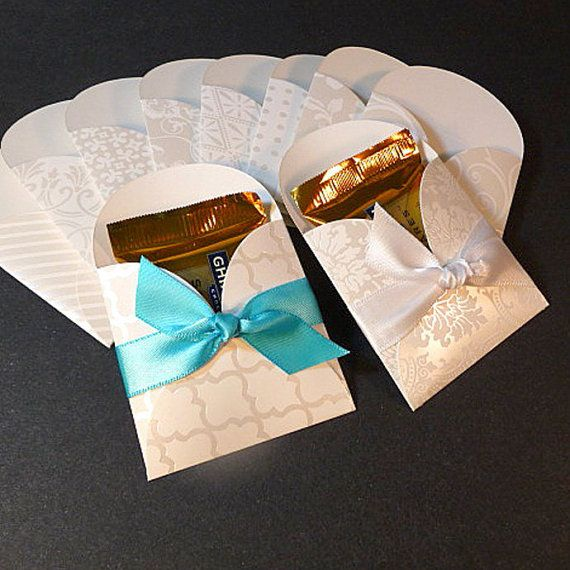 Wedding favors, set of 10, treat holders, chocolate square holders, white pearl tone on tone favor pockets, white embossed