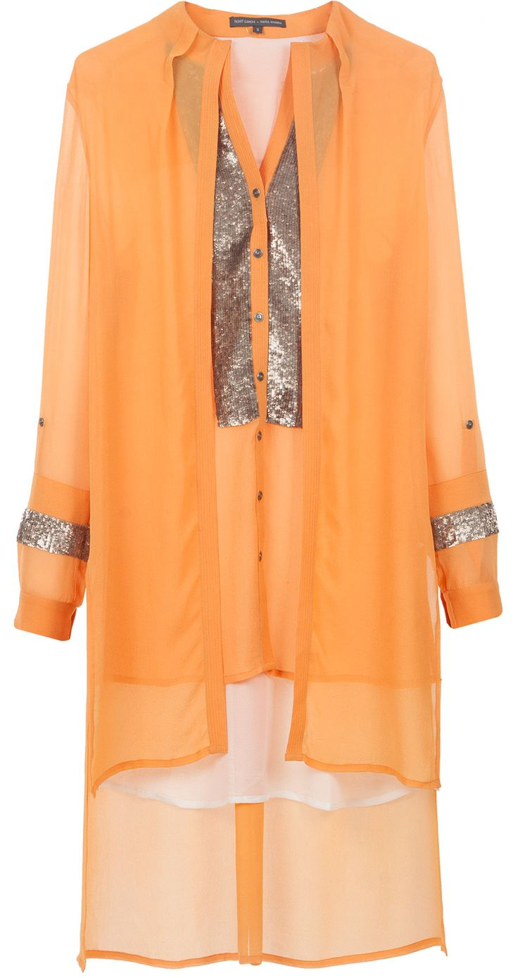Orange layered sequinned yoke tunic by ROHIT GANDHI AND RAHUL KHANNA. Shop at http://www.perniaspopupshop.com/whats-new/rohit-gandhi-and-rahul-khanna-7451