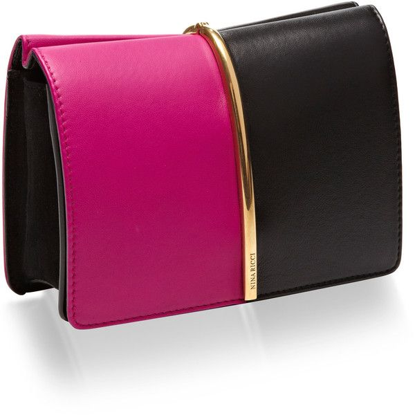Arc Small Two-Tone Leather Clutch | Moda Operandi (3,875 PEN) ❤ liked on Polyvore featuring bags, handbags, clutches, leather clutches, two tone purse, real leather handbags, purple handbags and two tone leather purse