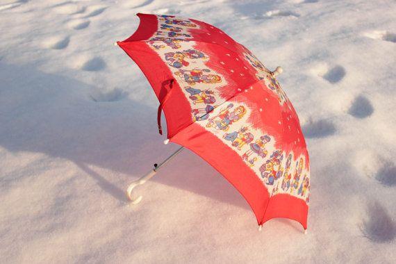 Soviet Children's Umbrella / Cute Red by LittleMonstersStore