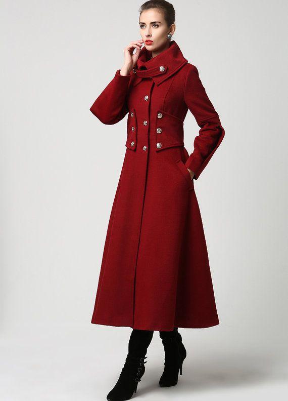 Womens Long Red Cashmere Military Style Coat Also by xiaolizi