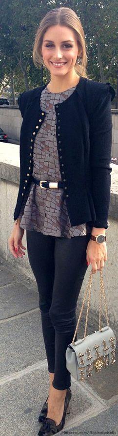 skinny + peplum + cardi + belt + shoes... OP, always