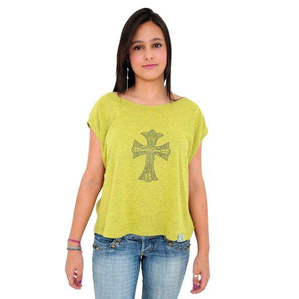 Blusinha Crucifixo em Pedraria:  T-Shirt
