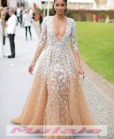 39caa6b1dd32a Champagne Tulle Long Sleeve Evening Dress 2018,Sexy Deep V Neck ...