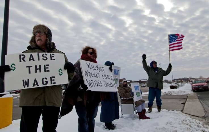 Protesters outside of the Wal-Mart on Black Friday in Watertown, Wisconsin