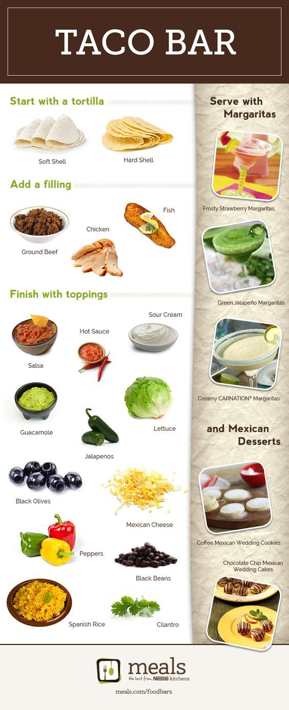 Taco Bar   Meals.com - Turn taco night into a fiesta with a taco bar! A taco bar makes everyone happy – it's easy for the cook and everyone can make their taco just the way they like it.:
