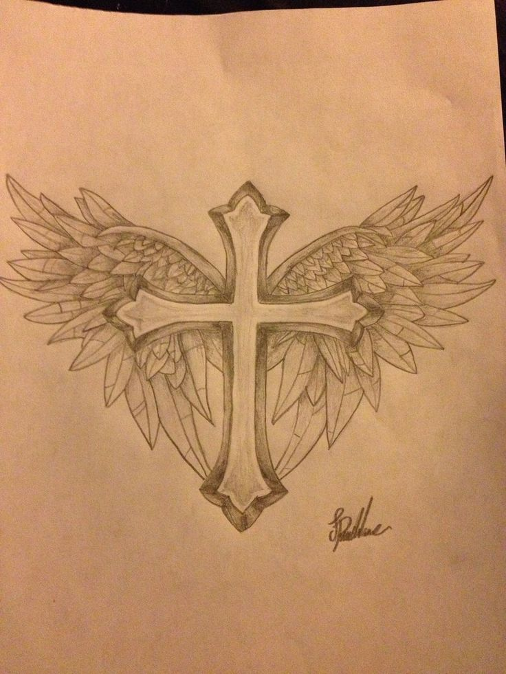 Cross With WIngs Tattoo Design by ProTxtics.deviantart.com on @DeviantArt