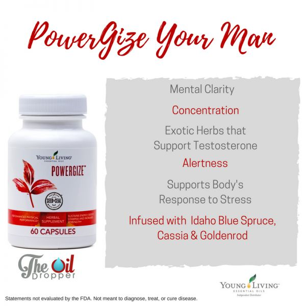 A supplement designed with your man in mind, infused with Young Living 'manly' oils and exotic botanicals. http://www.theoildropper.com/get-man-powergize/