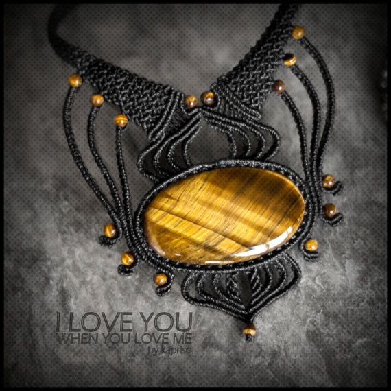 Tiger Eye Macrame necklace by kapriscrea on Etsy