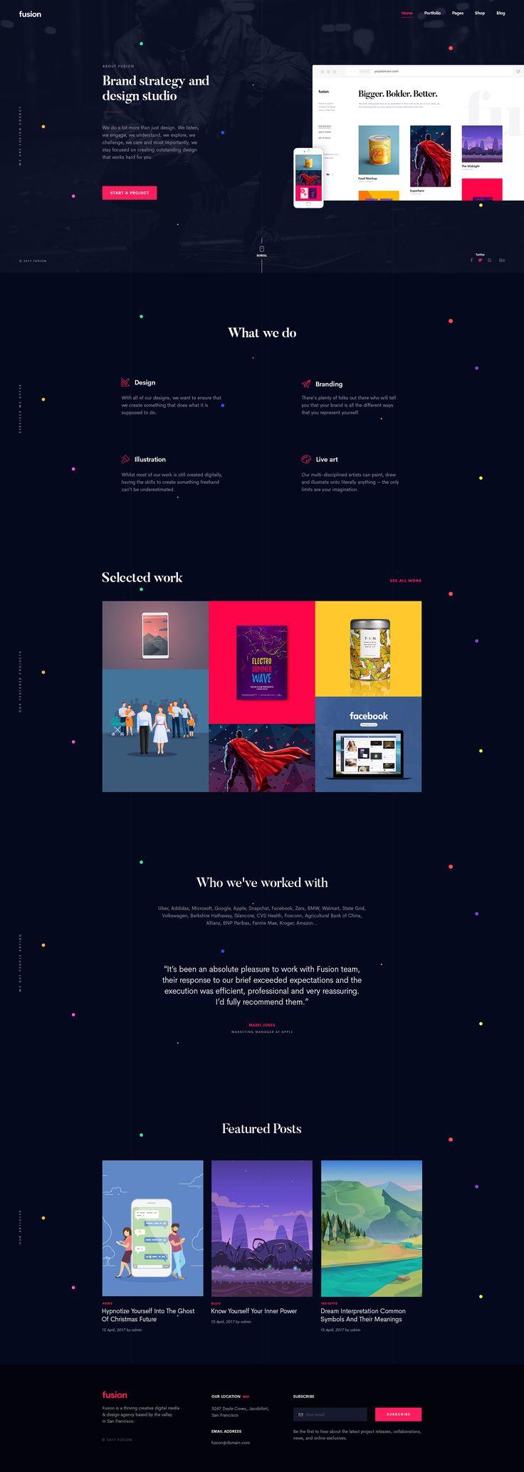 Fusion - A Distinctive Portfolio Template #agency #clean #colorful • Download ➝ https://themeforest.net/item/fusion-a-distinctive-portfolio-template/19702502?ref=pxcr