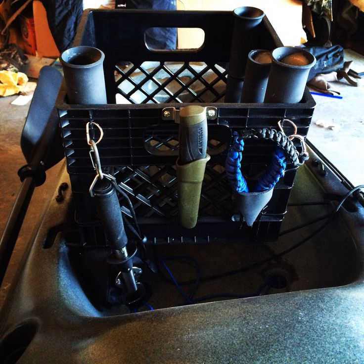 Kayak fishing milk crate