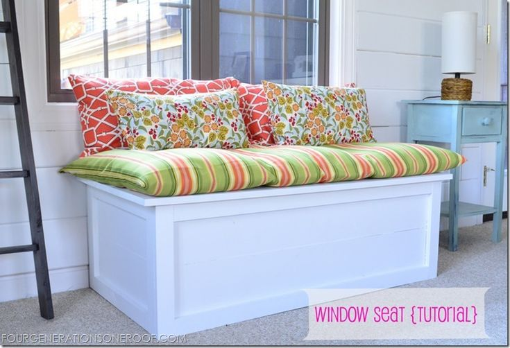 DIY Window Seat tutorial. I could do this and use Keegan's crib mattress as the cushion on top.