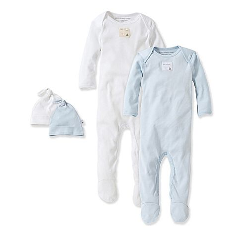 0d5676618 Burt s Bees Baby® Size 6M 2-Pack Footie Pajama with Hat in Blue ...