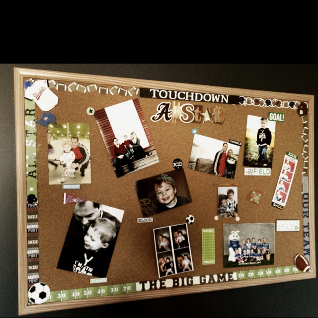 Made my own board, with supplies from Michael's Craft store and used Velcro to attach pictures, cost 1/4 of Pottey Barn board.