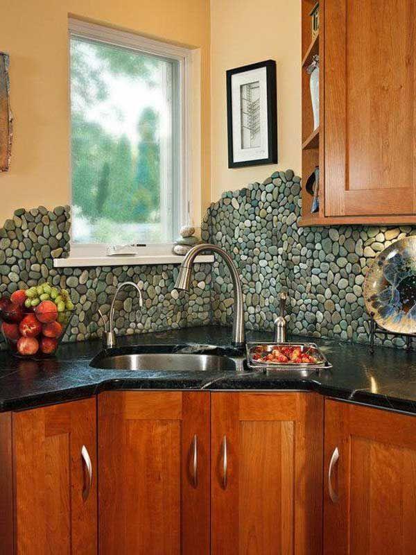 35+ Amazing Ideas Adding River Rocks To Your Home Design. Rock BacksplashStone  Kitchen ...