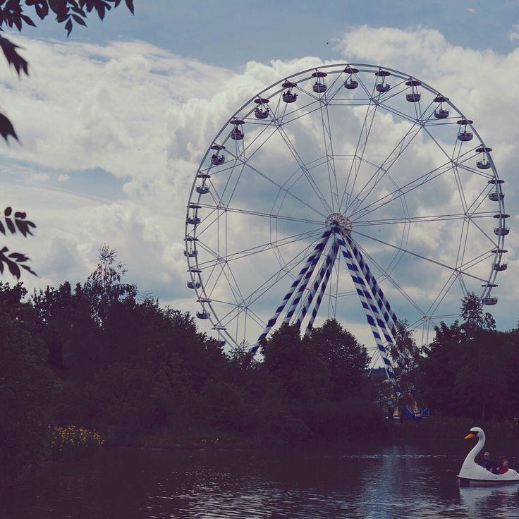 skyline park, germany. bigeye,sky,swan,lake