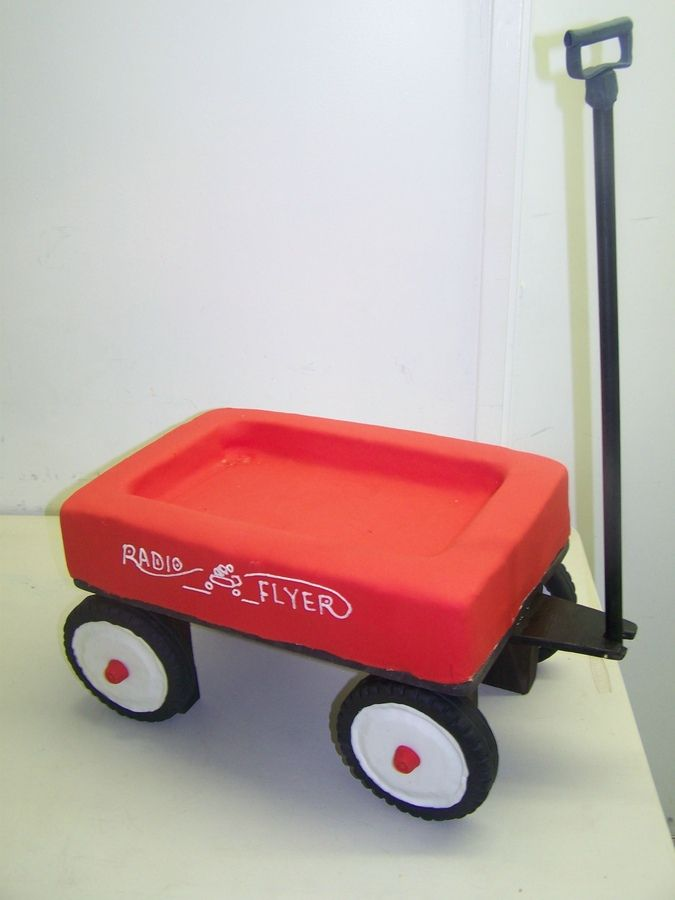 Fondant Radio Flyer Wagons | little red wagon radio flyer wagon cake elevated stand holds a double ...