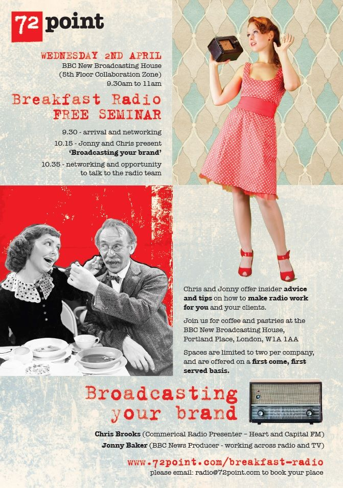 Flyer/Advert for the Radio Seminar we held at BBC Broadcasting house, April 2nd 2014