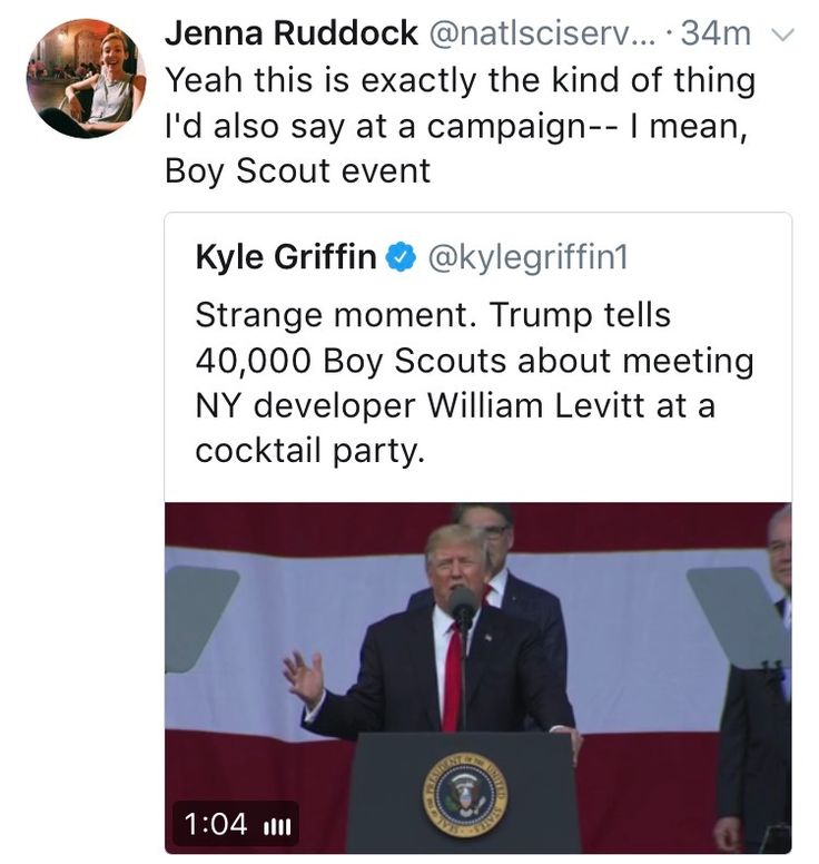 Many Boy Scout parents are losing their minds over how inappropriate the Republican President's speech was today.
