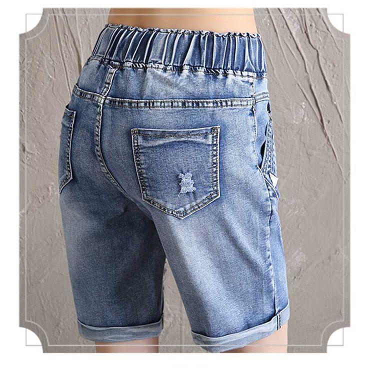 Ventas calientes de Las Mujeres del Lazo de La Cintura Elástico Jeans Shorts Más El Tamaño Medio de Mezclilla Pantalones 2017 Summer Street Fashion Envío Gratis en Pantalones cortos de Ropa y Accesorios de las mujeres en AliExpress.com | Alibaba Group