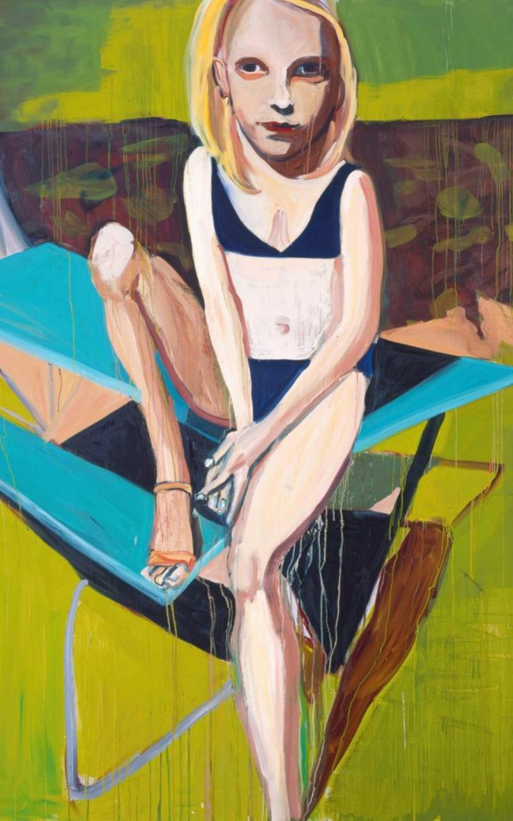 British artist Chantal Joffe Blonde	  Girl	  Sitting	  on	  a	  Picnic	  Table,	  2007