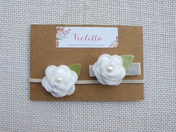 Gift Set ~White Felt Flower Headband and Hair Clip~ / Flower Girl, Baby Shower, Birthday