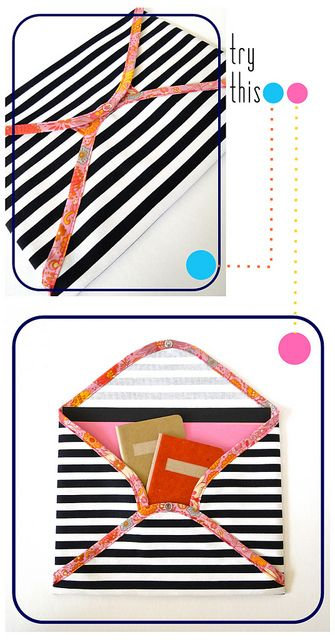 Fabric Document Envelope Tutorial by Fabric Paper Glue. This would make an adorable iPad or Kindle case.
