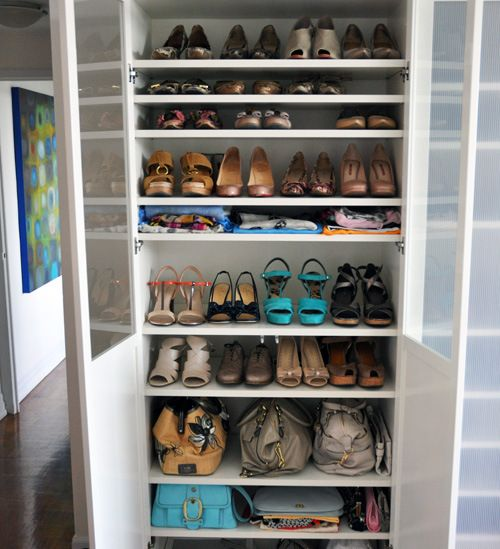 IKEA Billy shelving for shoe storage