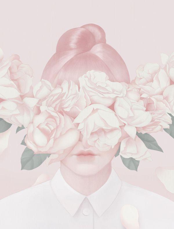 L'illustratrice taïwanaise Hsiao-Ron Cheng réalise ces images douces aux teintes pales et pastels où les visages se mêlent aux fleurs.