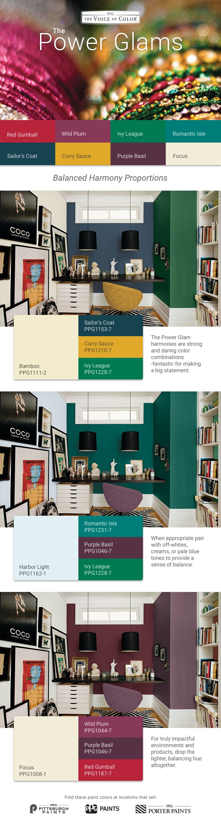 Paint colors website - The Power Glam Color Harmonies From Ppg Voice Of Color Are Strong And Daring