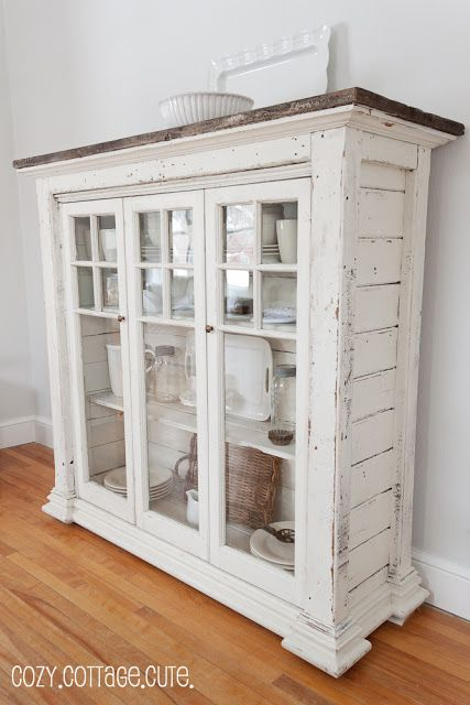 White Shabby Chic Cabinet with an Adorable Cottage Flair. Another great find for my dining room.
