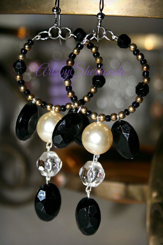 Handmade Beaded Earrings Chandelier Gold Black And Clear