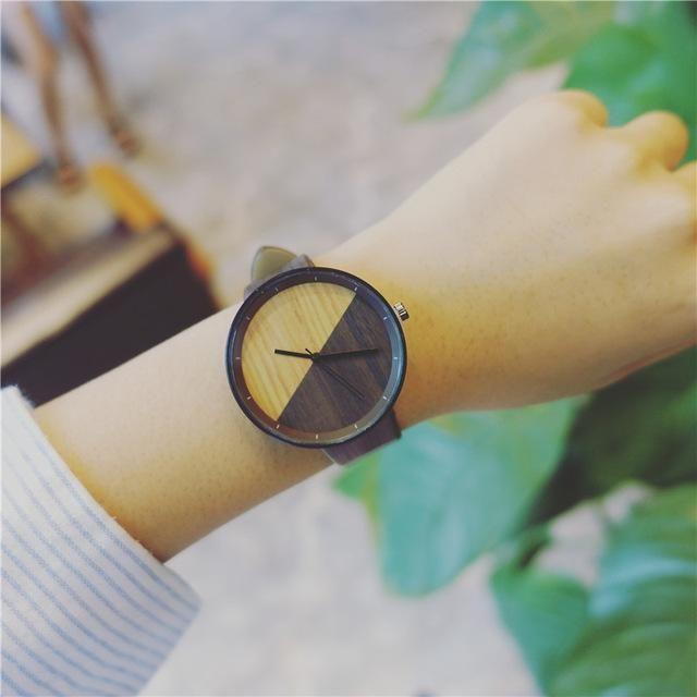 Imitation Wood grain watches Simple wooden vintage female clock BGG brand fashion women wristwatch casual Clock hours relogio