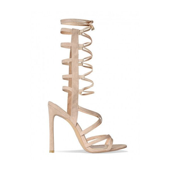 Valentina Nude Suede Lace Up Heels : Simmi Shoes featuring polyvore, women's fashion, shoes, pumps, suede lace up shoes, laced shoes, nude court shoes, nude suede shoes and lace up pumps