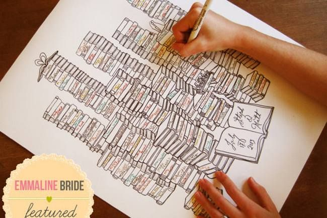 Preserve your wedding guest names on each of the books in your 'personal library' | See more here: Unique Wedding Guest Book Ideas {Trendy Tuesday} | Confetti Daydreams ♥  ♥  ♥ LIKE US ON FB: www.facebook.com/confettidaydreams  ♥  ♥  ♥ #Wedding #WeddingTrends #GuestBook