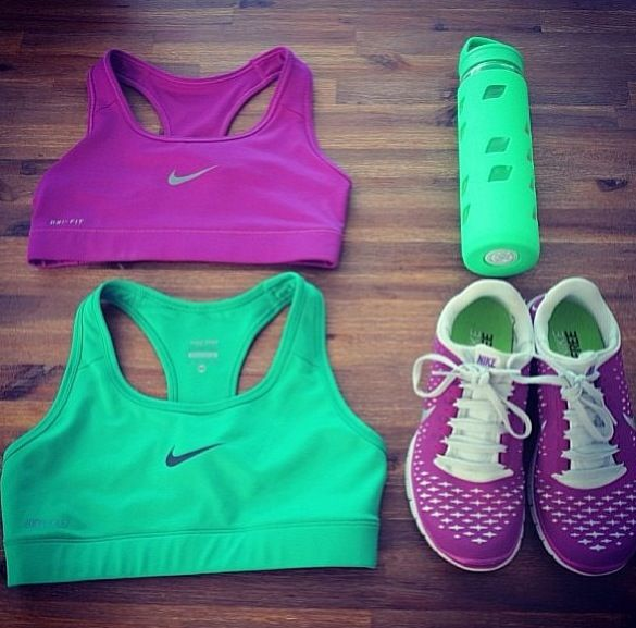 Neon sports bras, water bottle, and running shoes. I want to start getting more colorful work out gear. It makes it so much more fun! :)