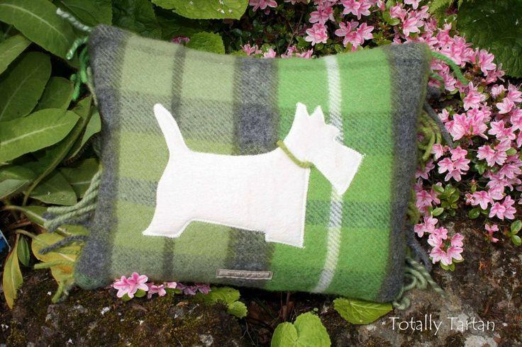 Totally Tartan - Lime Green Pastel Plaid Scottie Dog Cushion