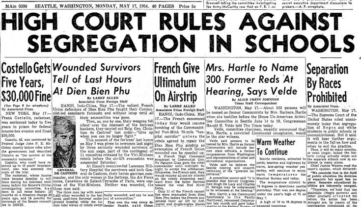 "This article is relevant to Warrior's Don't Cry because of the court case of Brown v. Board Education. This unanimous Supreme Court ruling overturned the established ""separate but equal"" doctrine, opening up the path to integration and giving the Civil Rights Movement a solid legal foundation, however, President Eisenhower has allow the sixteen Negros to go to an all-white school to see what would happen."