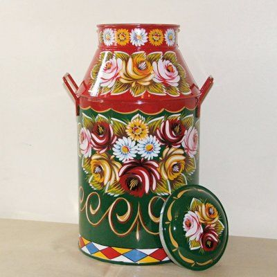 Canal Arts by Terence - Artwork - Canalware - 'Roses and Castles' - Milkchurns
