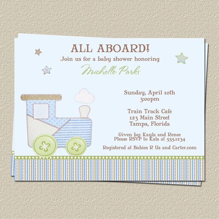 Train Baby Shower Invitations for Choo Choo or Carter Theme, FREE Shipping, Set of 10 Invites and Envelopes. $7.00, via Etsy.