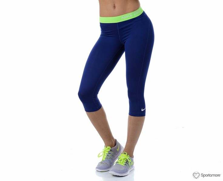 Nike - Pro Capri - Tights - Blå/Grön - Dam | www.sportamore.se | Sportamore.se - Kläder Träning & Gym
