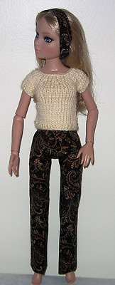 Hand  knit top + Slacks + Headband for Ellowyne.