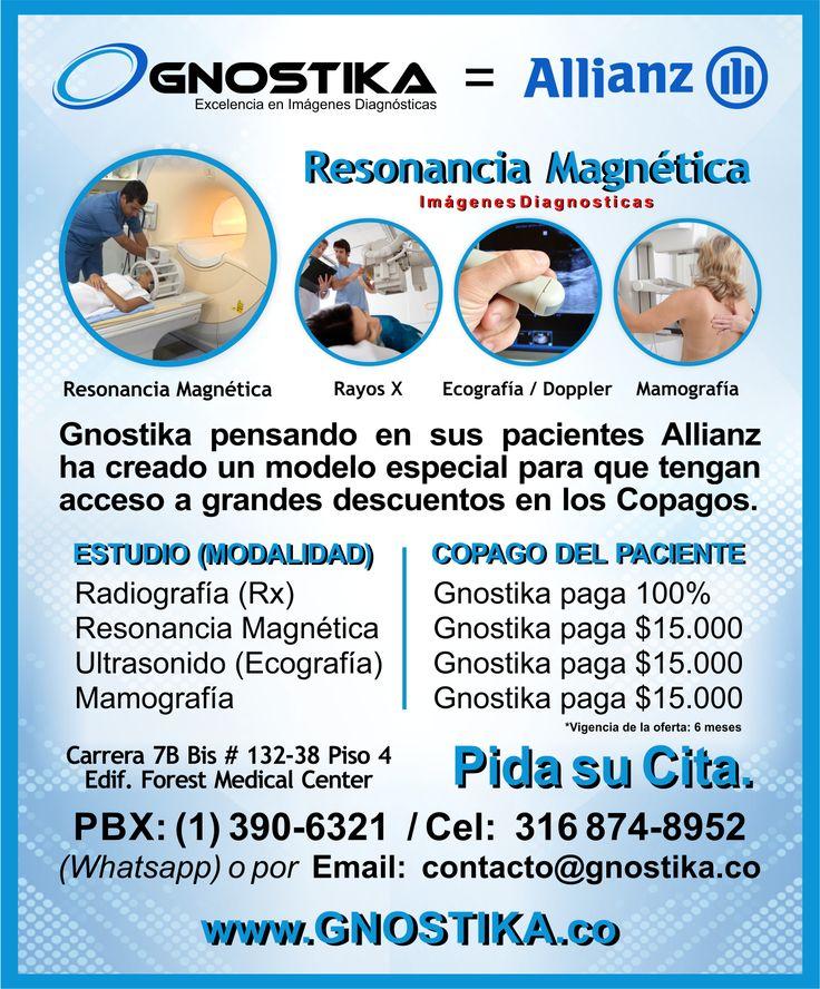 Excelentes noticias para pacientes Allianz. ¡Gnostika te da Grandes Descuentos en los Copagos! Pide tu cita y nosotros te ayudamos con todo el proceso de autorización. Para solicitar una cita sólo debes llamar a nuestro PBX 3906321 en Bogotá o hacer clic aquí.http://www.gnostika.co/agendar-una-cita