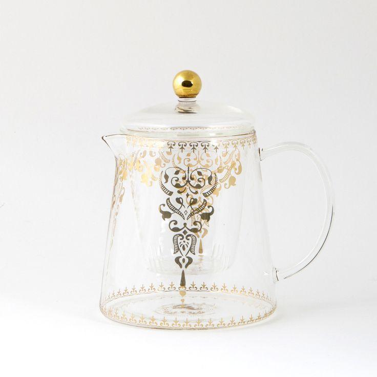 A #versatile #glass #teapot with a #gold #Moroccan #design. lyndalt.com