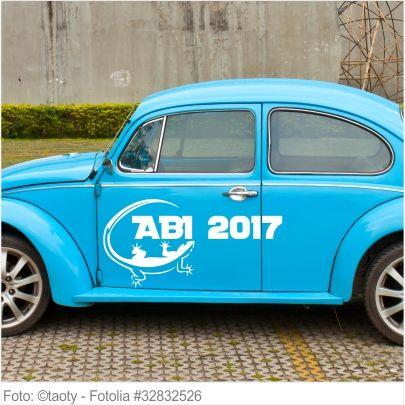 Autoaufkleber und Sticker ABI 2017 mit Gekko
